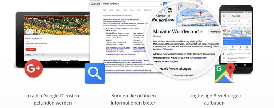 """Sein Unternehmen in """"Google My Business"""" eintragen um in allen Google-Diensten gefunden zu werden"""