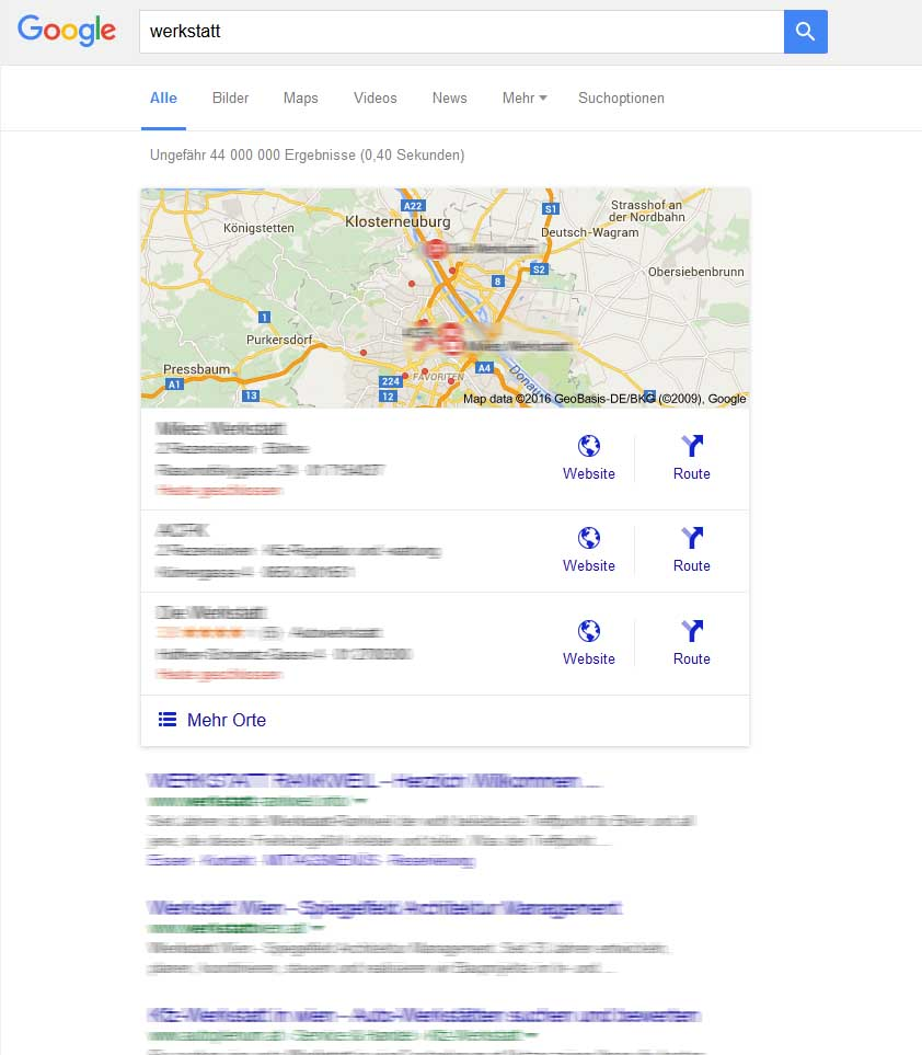 Google-Suche myBusiness